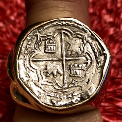 Atocha Silver Two Reale Grade One Yellow Gold Ring Size 12 3/4, Rare Hernando Ballesteros coin #85A-148390
