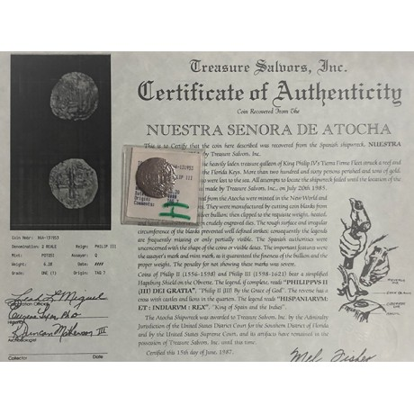 Atocha Silver Two Reale Grade One Coin, Q Assayer $5495 in Key West #85A-131953
