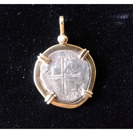 Atocha Two Reale Grade Two Coin Pendant in 14K Gold Bezel #94A-1064