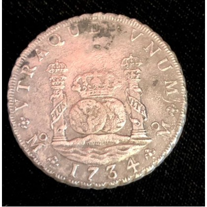 1734 Mexican pillar dollar recovered from the 1739 wreck of the Rooswijk, Coin # AC100