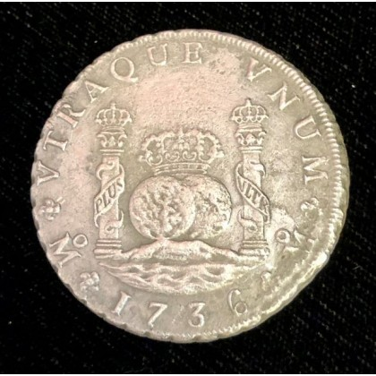 1736 Mexican pillar eight reale recovered from the 1739 wreck of Rooswijk. Coin # AC11400