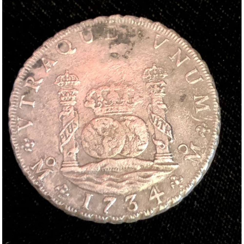 1734 Mexican pillar dollar recovered from the 1739 wreck of the Rooswijk, Coin # AC9316