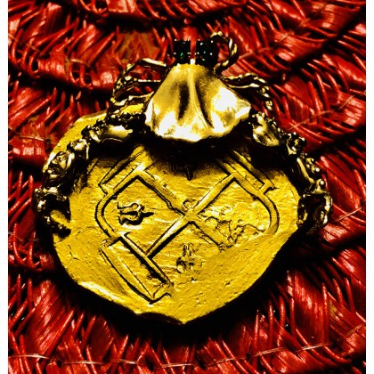 1715 Fleet Gold Eight Escudo with a 14K Gold Crab with Emerald Eyes