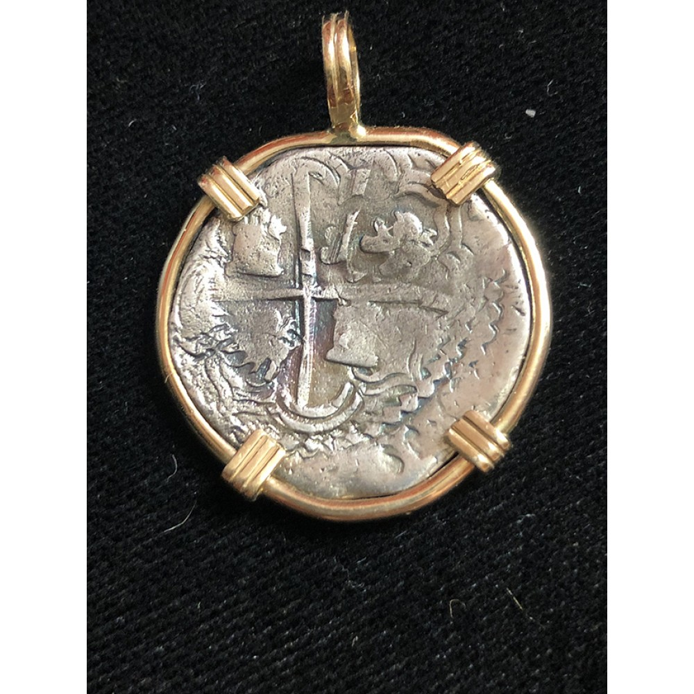 Atocha Two Reale Grade One Coin Pendant in 14K Gold Bezel
