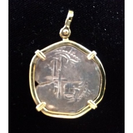 Atocha TWO Reale grade 2 mounted in a 14 kt gold bezel, Coin # CH4-22-41413