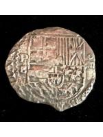 Very Rare Atocha Four Reale Grade One by Hernando Ballesteros. Rare X Borders around the coin. Circa 1596, Coin # CH4-41-1008