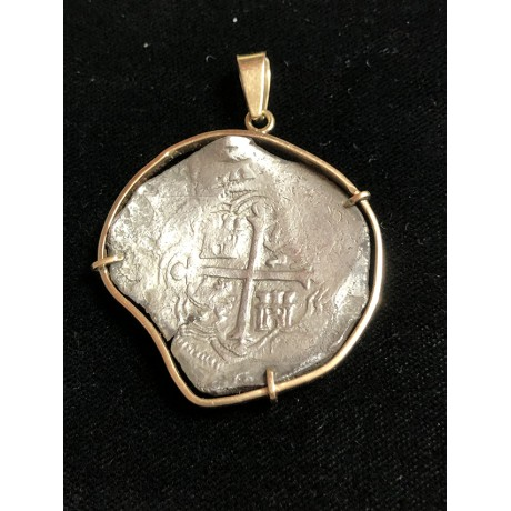 Atocha Eight Reale Grade One Coin Pendant in 14K Gold Bezel