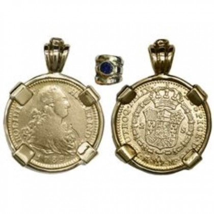 Madrid, Spain, bust gold 2 escudos in a 14kt. Gold Bezel. Charles IV, 1789MF, Coin # GC1789