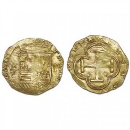 Toledo cob gold  2 escudos Coin. Phillip II. 1556-1598 .#GC53