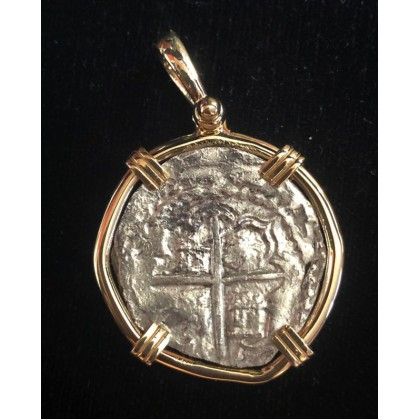 Nice Margarita grade 3 two reale in a 14 Kt. gold bezel,  coin # M84-137
