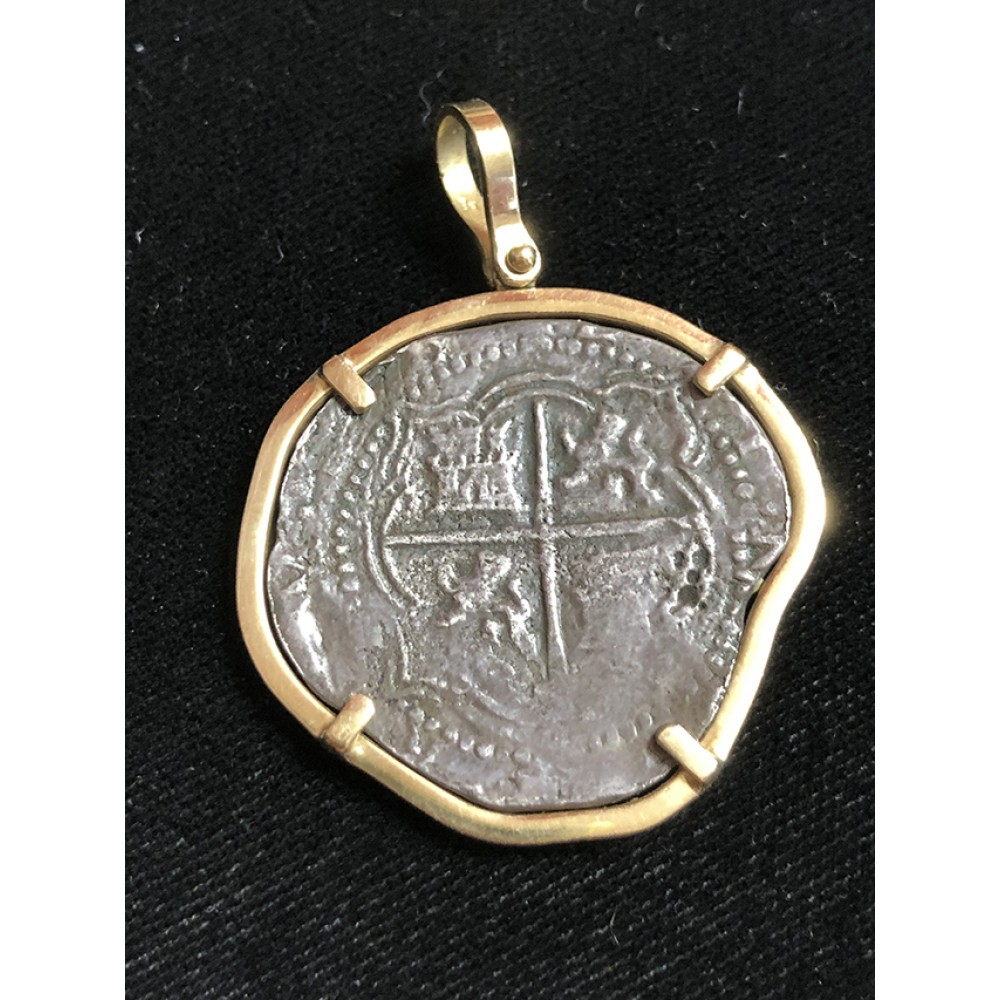 Atocha Four Reale Grade Two Coin Pendant in 14K Gold Bezel