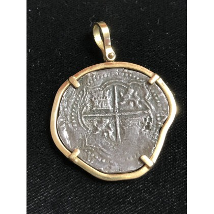 Atocha Four Reale Grade Two Coin Pendant in 14K Gold Bezel #ML290600