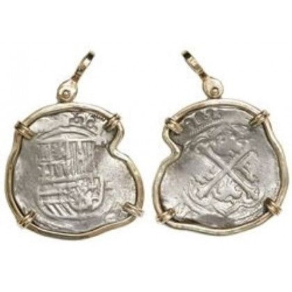 Atocha type Mexico City silver cob 4 reales  (1556-1598) mounted in a 14 kt. gold bezel. Coin # SC1390