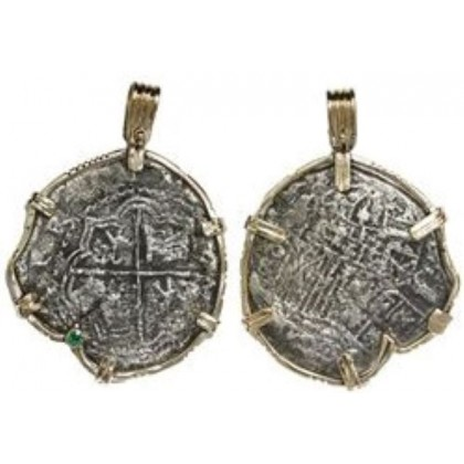 Atocha Silver Eight Reale Grade Three Coin Pendant in 14K Amethyst and Emerald X Borders Gold Bezel, 1596-1605 Rare, COA # CH4-83-41623