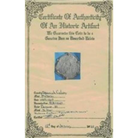 Atocha Silver Eight Reale Grade Three Coin Pendant in 14K Amethyst and Emerald X Borders Gold Bezel, 1596-1605 Rare, COA # CH4-83-41628