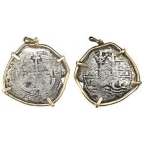 Consolacion Pirate  8 Reale Silver Coin Pendant. Dated 1656. 14 Kt. Gold Bezel , Coin # SC1394