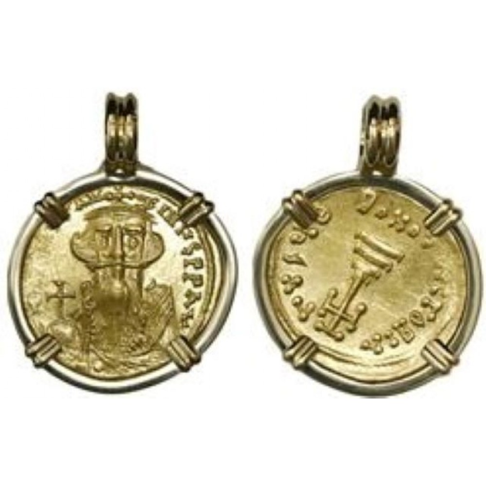 Byzantine Empire, AV solidus, Constans II (641-668 AD), 18 kt. Gold Bezel Coin # SC1401