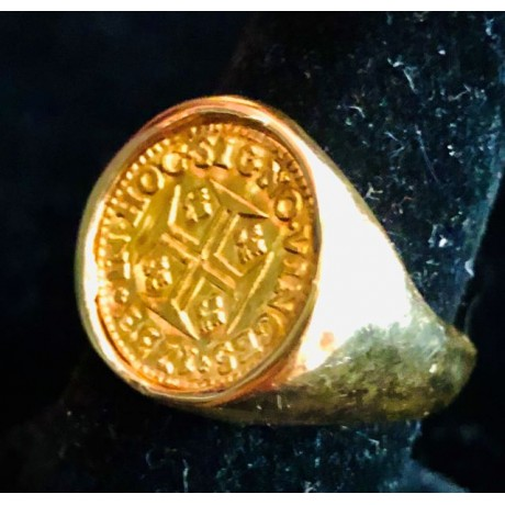 Portugal (Lisbon mint), gold 400 reis mounted in a 14 kt. gold man's ring,, Joao V, 1733, Coin # SC1404