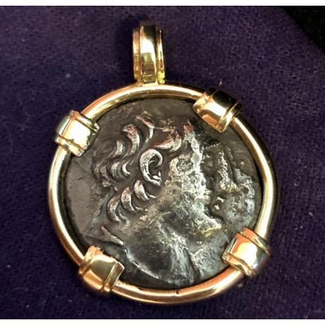 Ancient Greek Silver Tetradrachm of Antiochus VII in 14K Gold Bezel COIN # SC17-943