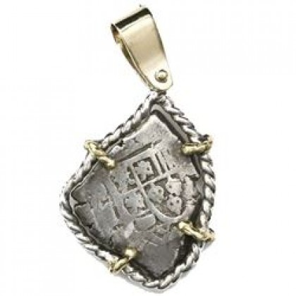 1715 Fleet Mexico City Silver cob 1 reale in a Silver Bezel with 14kt. Gold Prongs. 1700-1715, Coin#SC1885