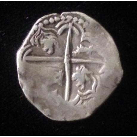 Potosi silver cob 2 reales. Q Assayer. 1613-1616. Atocha type. Coin # SC27-1622