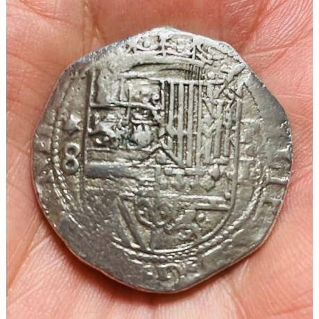 EXTREMELY  RARE Lima, Peru, cob 8 reales, Diego de La Torre (1577-1588) Coin # SC27-505