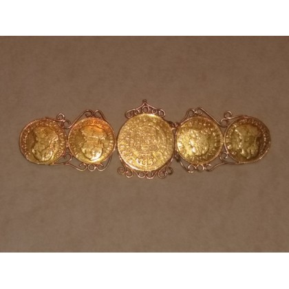 5 SPANISH GOLD ESCUDOS MOUNTED INTO A GOLD ANTIQUE PIN VERY RARE GENUINE 1780's Artifact#1780-5